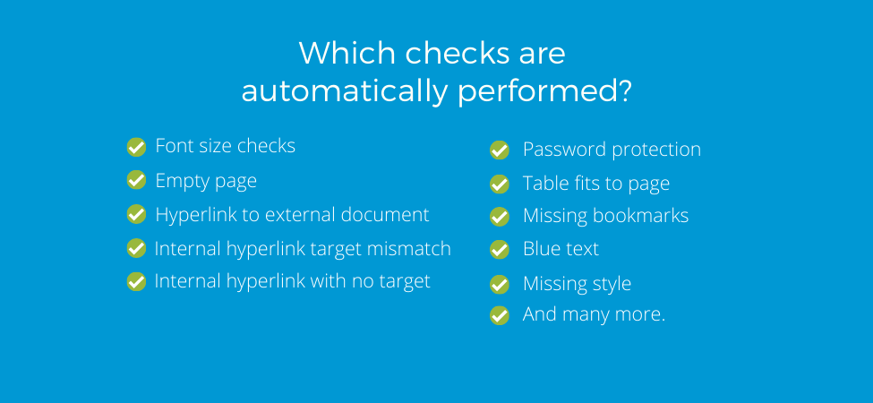 Automated checks that are performed for Word automation and formatting