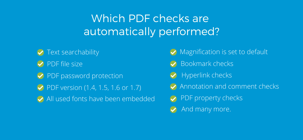 Automated checks that are performed for PDF validation against different health authority guidelines
