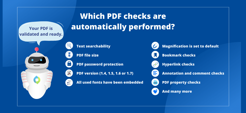 automated PDF validation |Validate your PDFs against FDA, PMDA, EMA, HC, SwissHealth requirements | Automated and compliant, submission-ready PDF for your submission publishers.