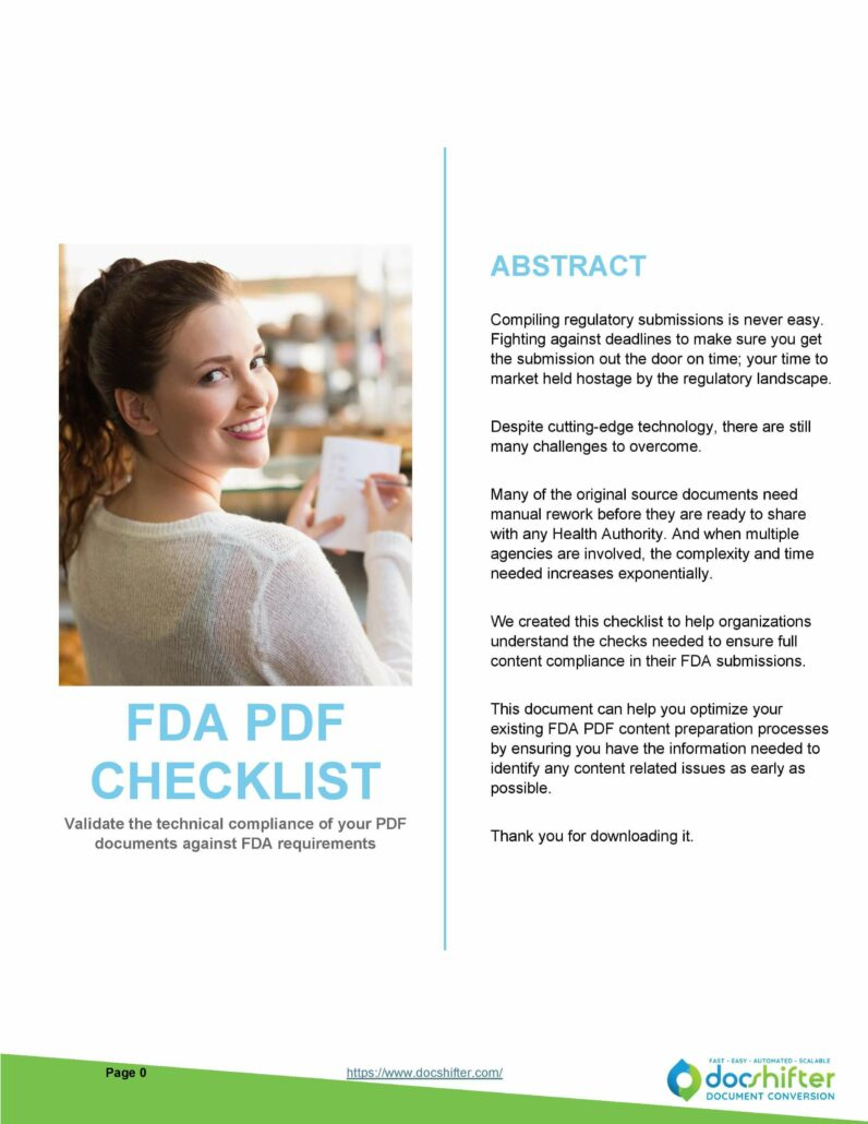 FDA PDF formatting checklist how to comply for the FDA PDF requirements - What are the requirements for FDA approval - FDA approval guidelines